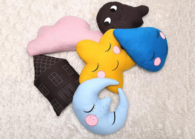 Cartoon Design Cute Plush Pillows Moon / Star Shaped Cushion For Baby