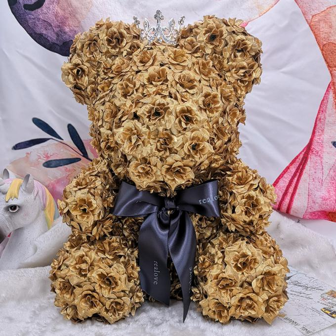 Holding Golden Eternal Rose Flower Bear Valentine ' S Day / Christmas Gift