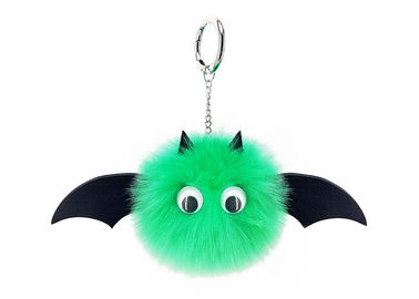China Bat Cute Plush Keychains  Pendant PU Leather 10cm With Artificial Imitation Rabbit Fox Fur supplier
