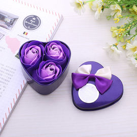 China Three Heart Shaped Iron Box Soap Rose Bouquet For Girlfriend On Valentine Day supplier