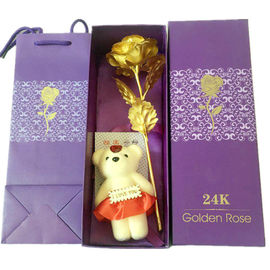China 27 Cm 8.5 Cm Rose Head Colorful 24k Gold Foil Rose With Bear Box For Decoration supplier