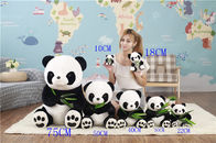 China Soft PP Cotton Personalised Plush Toys / Cartoon Panda Plush Toy With Bamboo Leaves factory