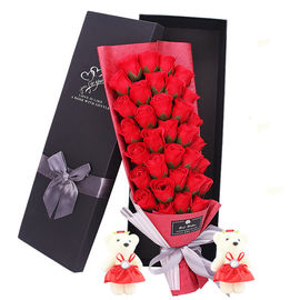 Red Color 33 Flowers Soap Rose Bouquet To Send 2 Teddy Bear For Free Gift Box