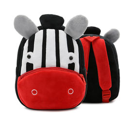 China Zoo Series Kids Plush Backpack School Bag Burden Shoulder In Red / Yellow Color factory