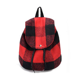 Fashion Plaid Printing Light Kids Plush Backpack , Durable Plush Book Bags