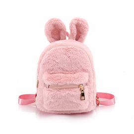 Cartoon Cute Small Rabbit Plush Backpack / Plush Bag For Children In Pink Color