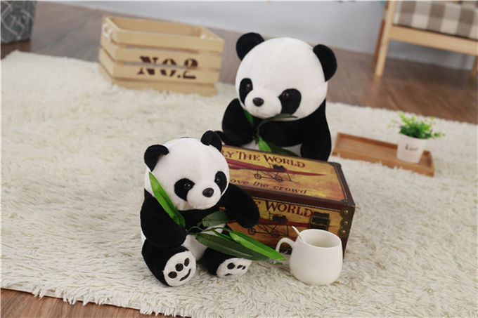 Soft PP Cotton Personalised Plush Toys / Cartoon Panda Plush Toy With Bamboo Leaves