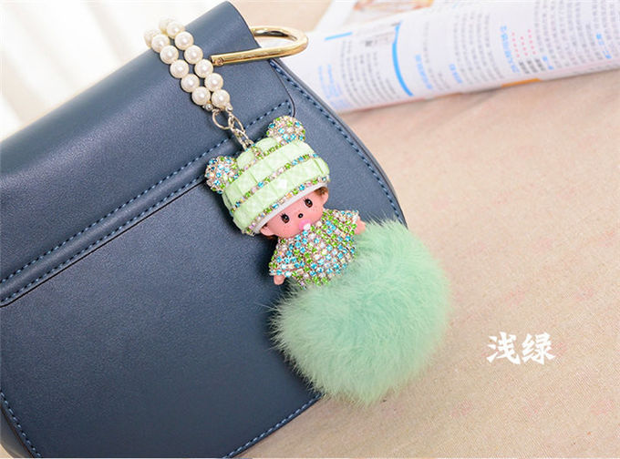 Real Rabbit Fur Ball Keychain , Pacifier Doll Pu Rope Key Ring Pendant